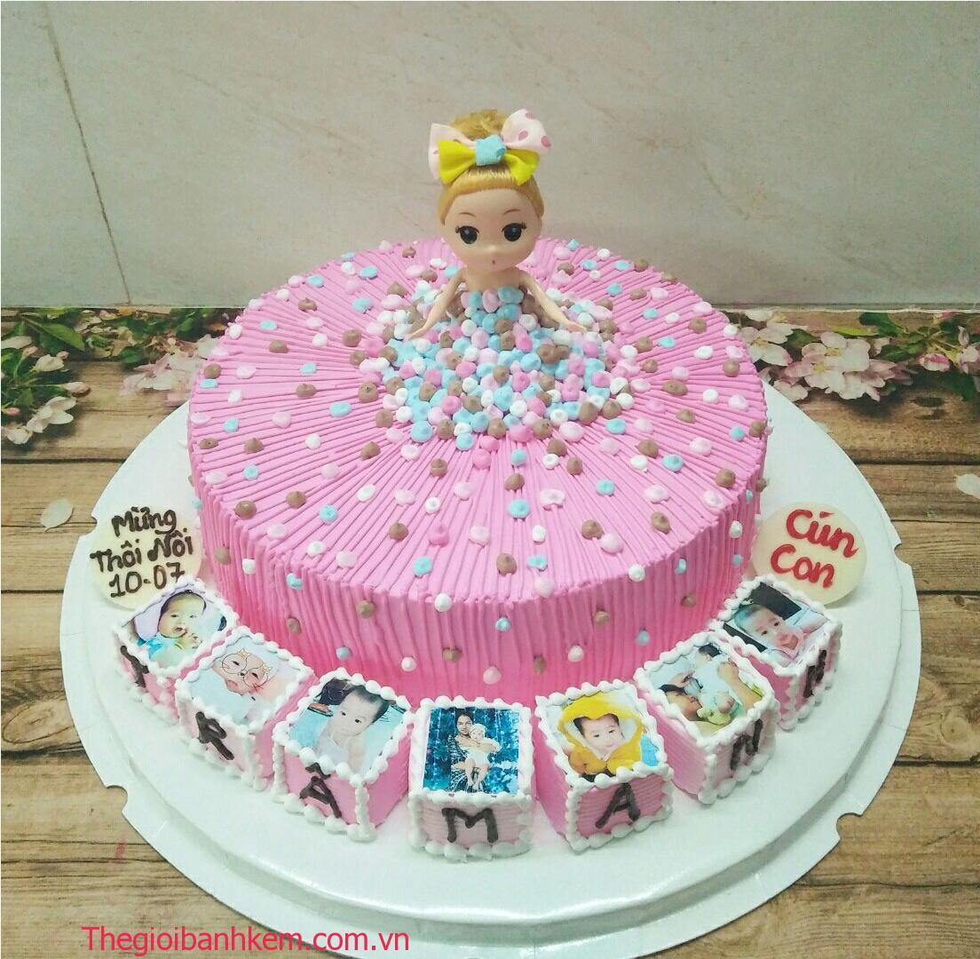 Bánh kem công chúa mầu hồng Mã B5435