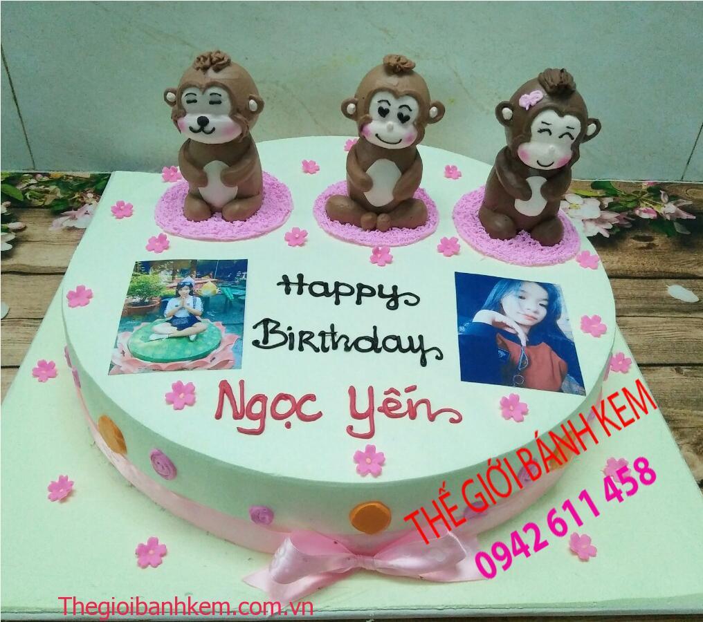 Bánh kem sinh nhật hình con khỉ mã B11065