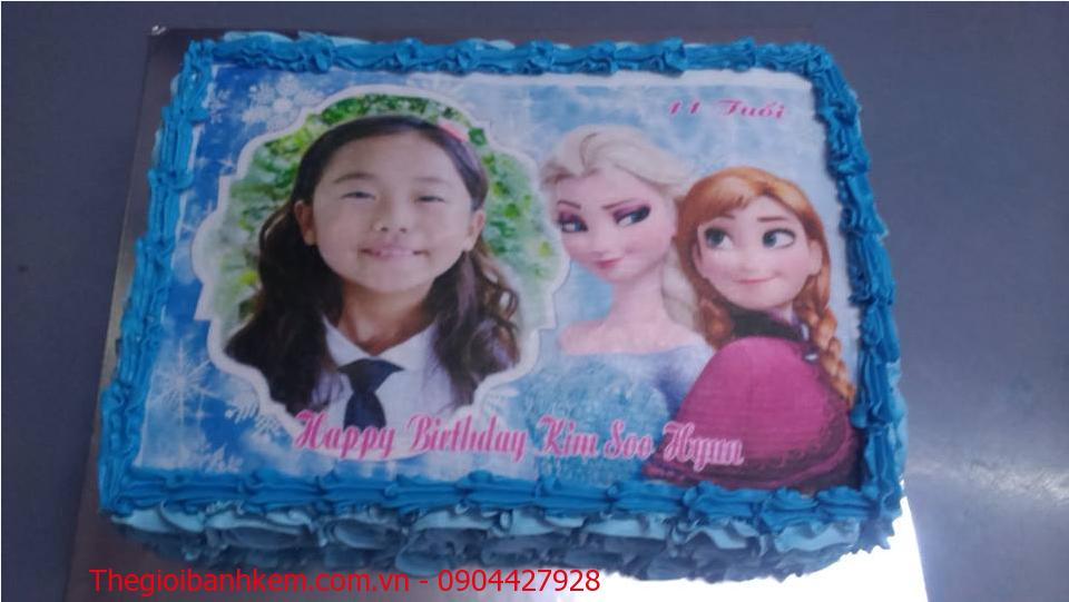 Bánh sinh nhật in ảnh Elsa & Anna Mã B1891