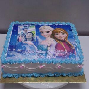 Bánh sinh nhật in ảnh Elsa và Anna Mã B1236