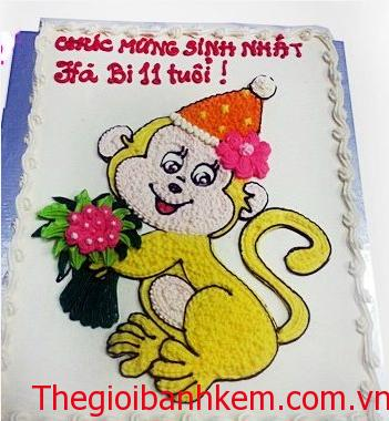 Bánh sinh nhật khỉ dễ thương mã B1727