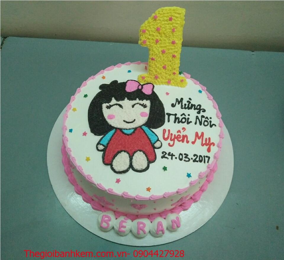 Bánh sinh nhật vẽ chibi bé gái Mã B1743