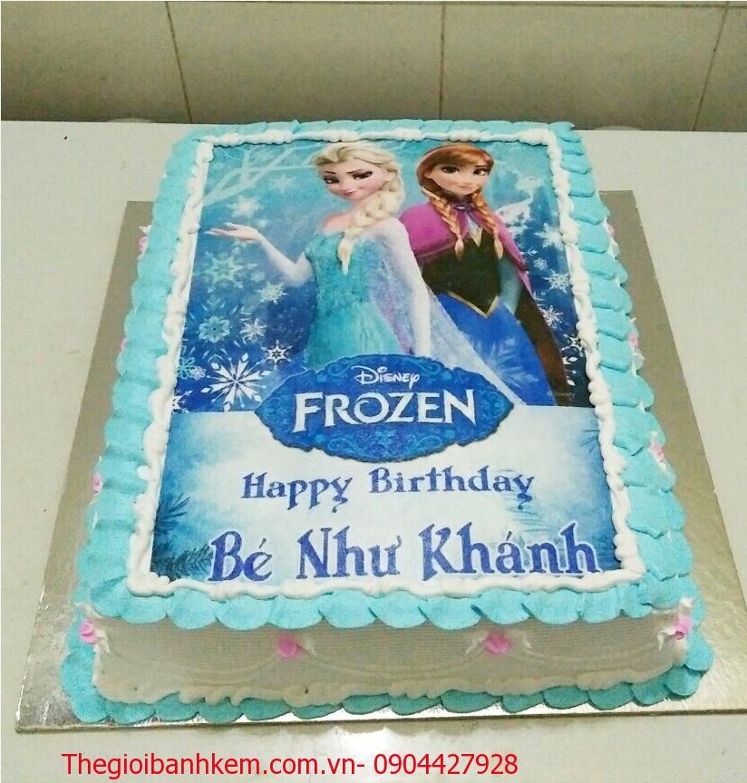 Bánh kem in ảnh công chúa Elsa & Anna Mã B4165