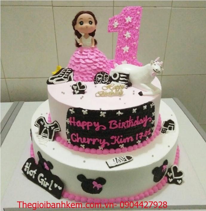 Bánh sinh nhật công chúa 2 tầng Mã B3607