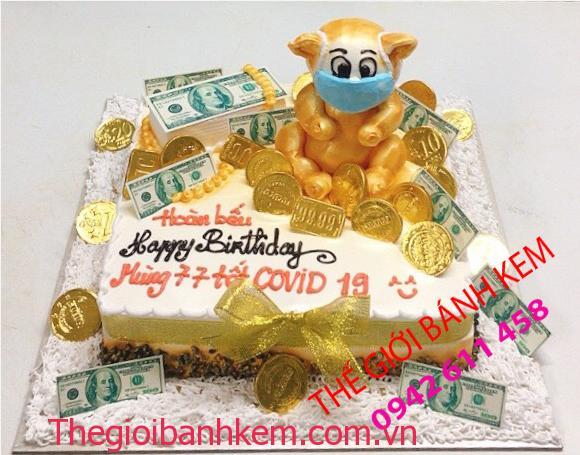 Bánh kem sinh nhật chú heo mùa covid mã B11062